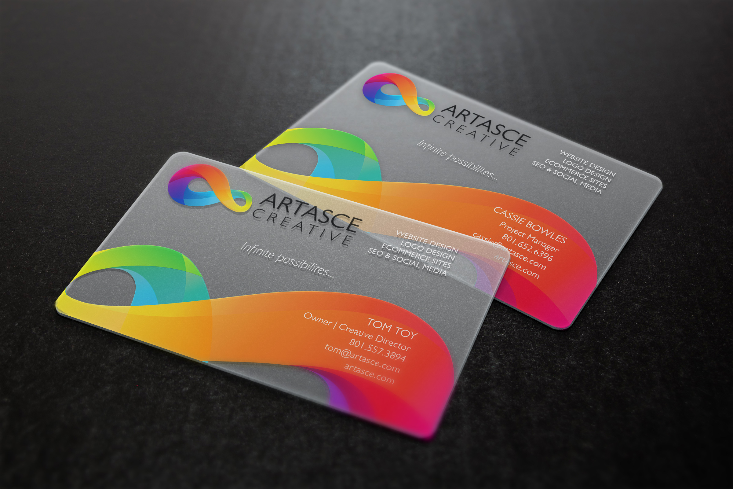 Clear plastic business cards artasce creative clear plastic business cards colourmoves